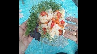 Простой рецепт цветной мариновоной капусты-Это очень просто и вкусно!