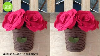 (02) Ide Kreatif Pot Gantung dari Pop Mie |DIY vase Flower Home