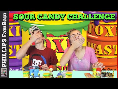 EXTREME SOUR CANDY CHALLENGE | WARHEADS & TOXIC WASTE | SOUR CANDY TASTE TEST | PHILLIPS FamBam