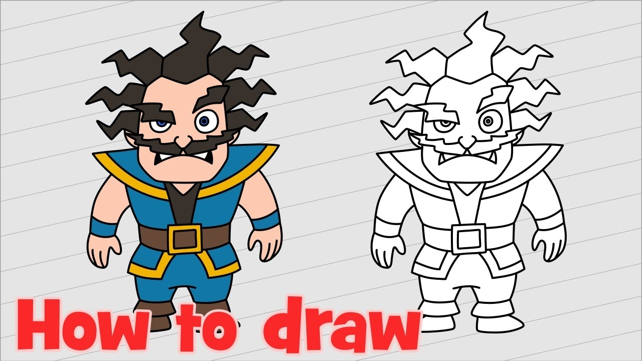 how to draw clash royale electro wizard