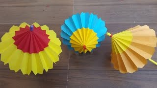 How to make an Origami umbrella that open and closes- Easy step by step process.