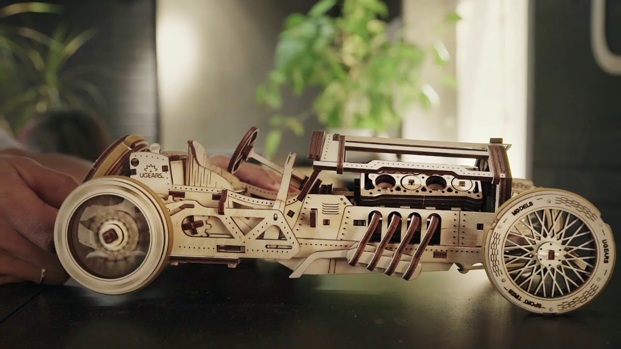 Ugears U 9 Grand Prix Car 348 Parts 3d Wooden Puzzle Mechanical Model Ugr 70044