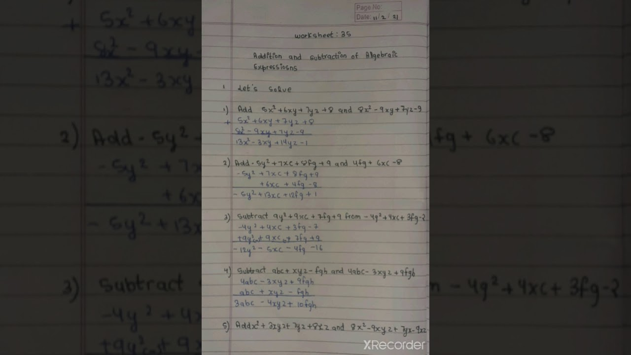 small resolution of class 8th today maths worksheet/ 11 feb 21/ answer sheet😇 - YouTube