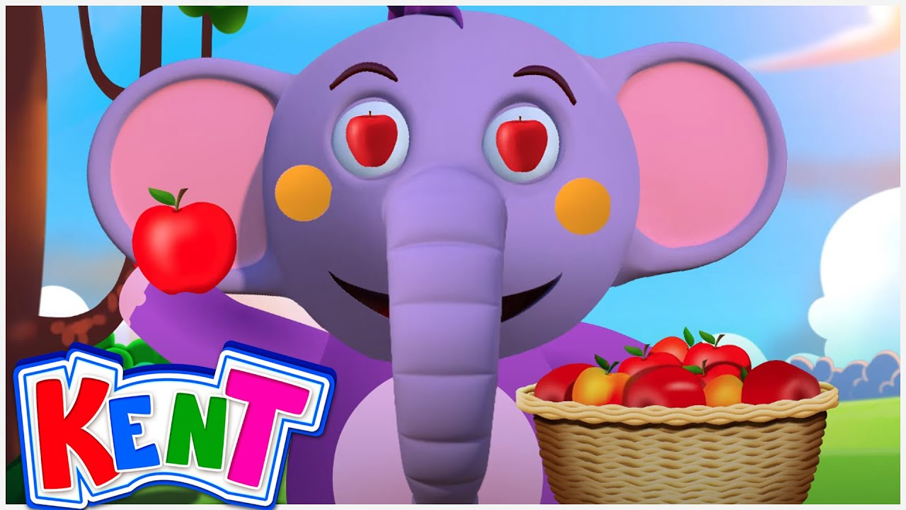 Kent The Elephant   Apple Song With Kent   Learn Fruits For Kids