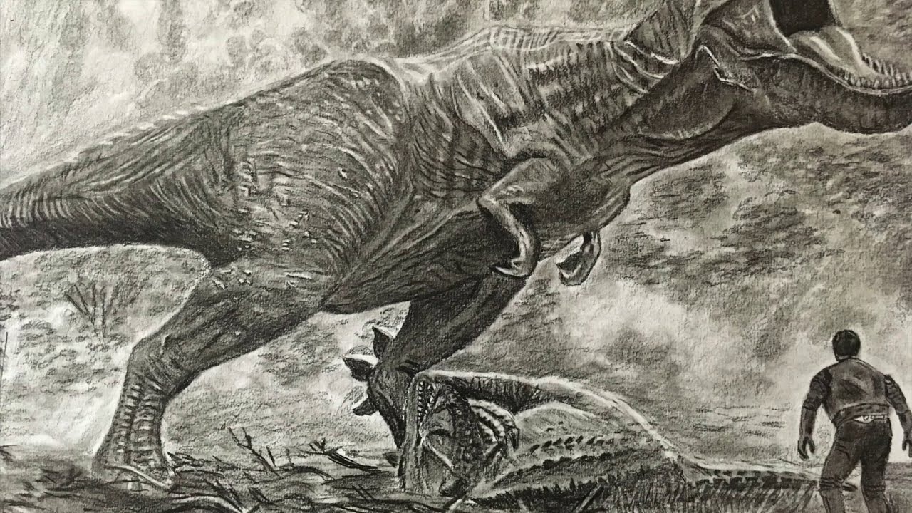 Jurassic world T Rex drawing   How to Draw T Rex   P V ...