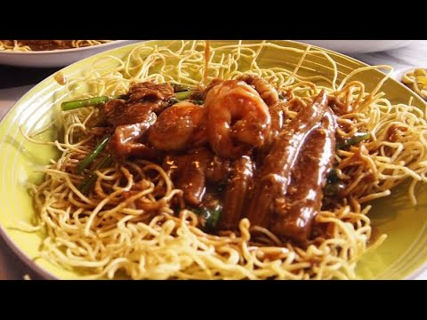 Super Easy Crispy Chow Mein With Pork Seafood 海鲜生面chinese Crispy Noodles Recipe Youtube