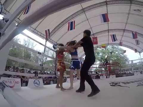 Muay Thai Boxing. Kularbdam v AI (round 3) Wai Kru Muay Thai Ceremony 2019 Ayutthaya.
