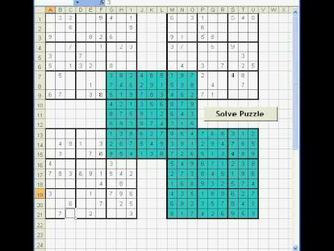 Samurai Sudoku - easy (solved using Excel VBA)