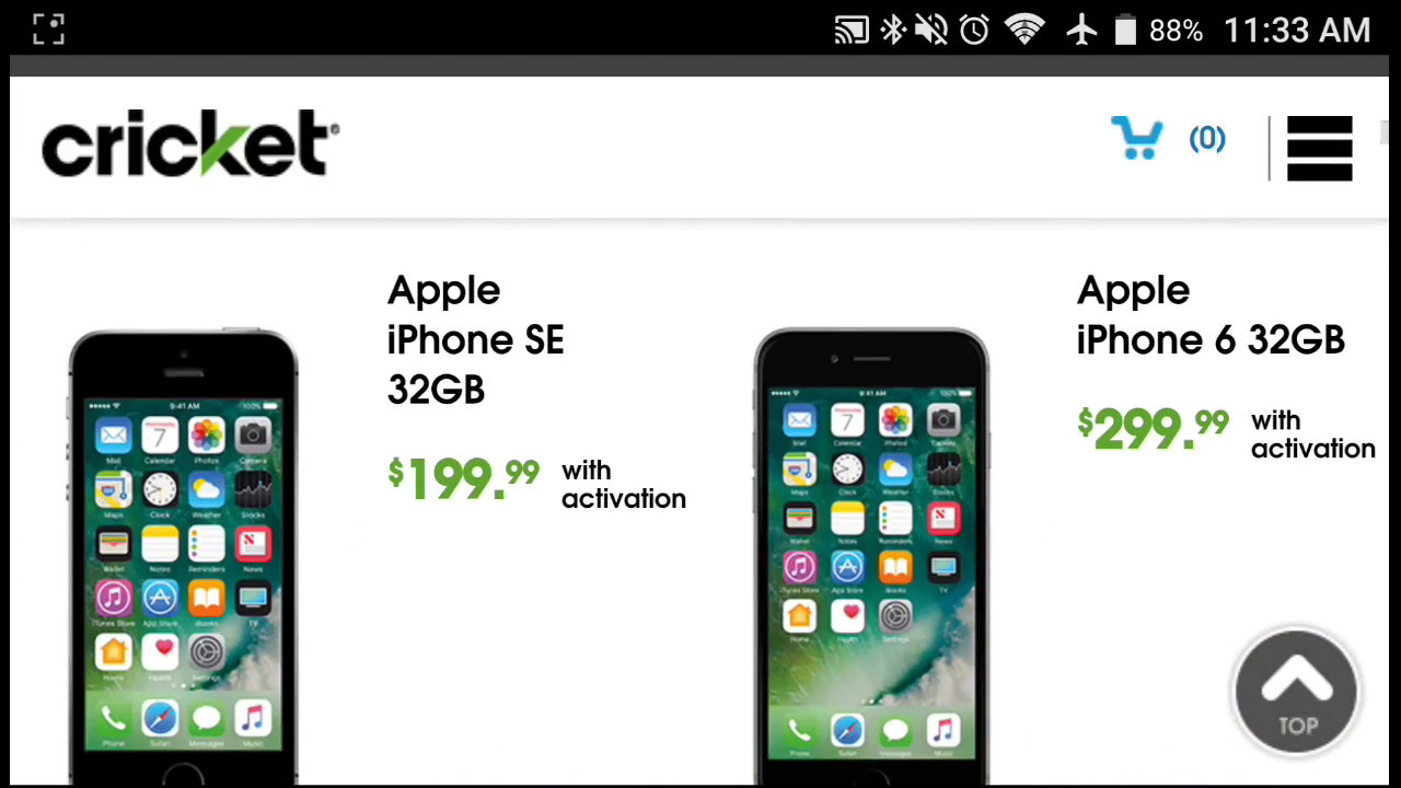 cricket smartphone prices