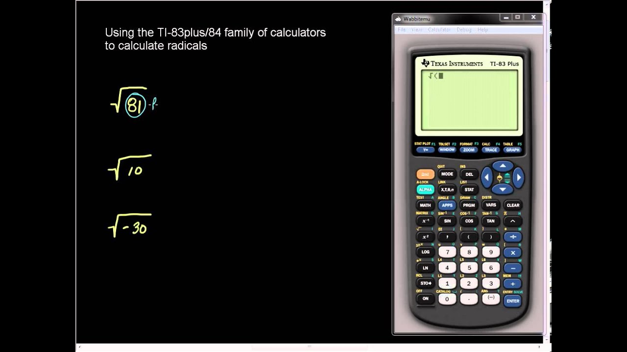 Square Root On The Ti 83plus And Ti 84 Family Of Calculators Youtube