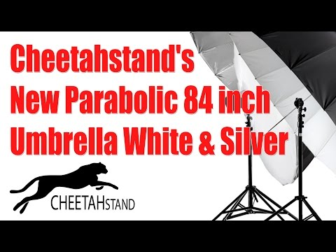 Cheetahstand New Parabolic 84 inch Umbrella White & Silver Diffusion sock is sold separately