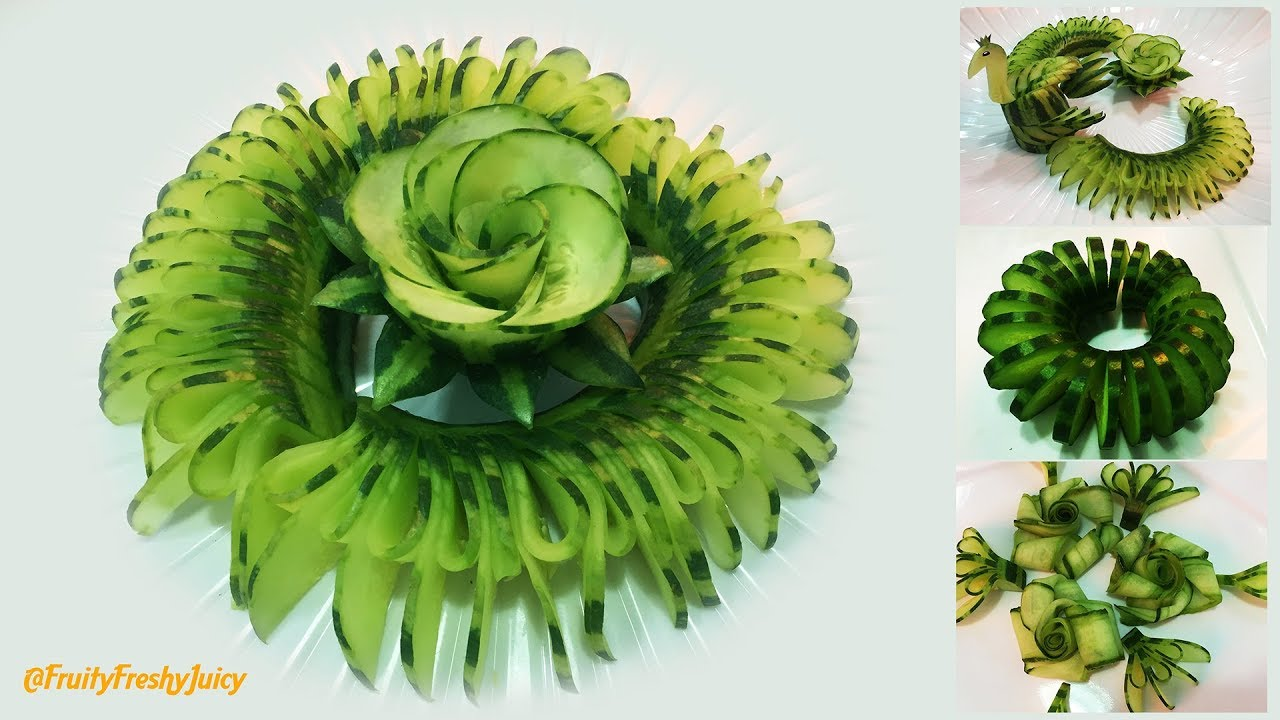 4 Beautiful Cucumber Garnishes For Hotel & Restaurant Food Designs & Decorations