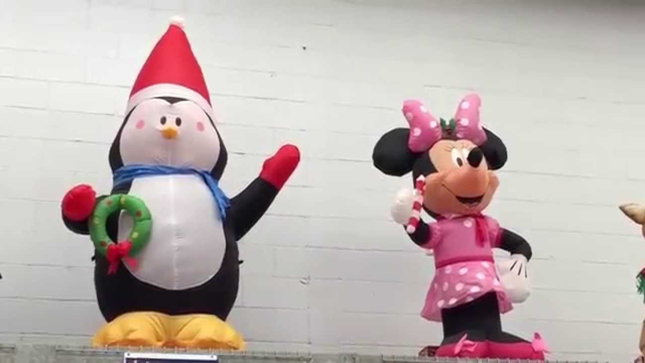 disney minnie mouse and penguin inflatable christmas decorations - Disney Inflatable Christmas Decorations