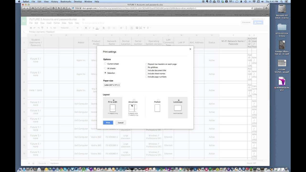 Print Google Sheets - YouTube