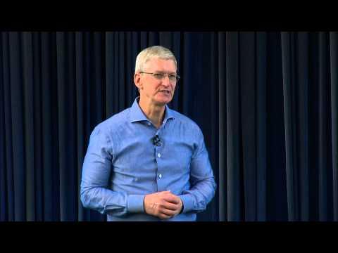 Tim Cook in Apple office Israel