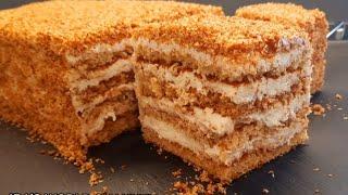 Մեղրով տորթի ամենահեշտ տարբերակը առանց եփելու առանց գրտնակելու медовый торт медовик honey cake