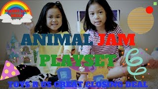 Kids Family Fun Time Video UNBOXING ANIMAL JAM  playset  closing sale TOYS R US by mandy and bella