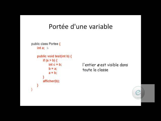 Java :  Portée d'une  variable