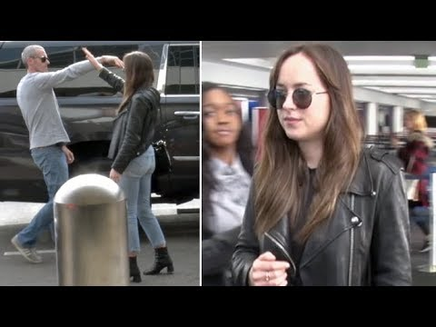 Dakota Johnson Shares A Very Cool, Personal Handshake With Her Driver At LAX
