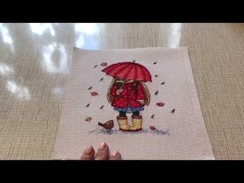 Девушка с зонтом вышивка крестом