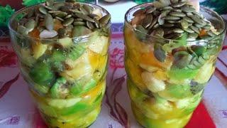 Ужин. Правильное питание. Фруктовый салат с тыквинными семечками. Вкусно и полезно.