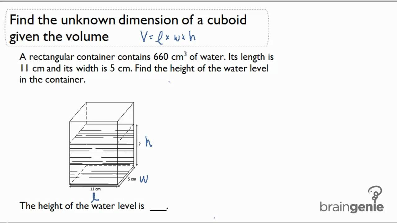 123 Find The Unknown Dimension Of A Cuboid Given The Volume