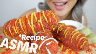 Hot Cheetos Mozzarella Corn Dog *RECIPE  ASMR *Soft, Crunchy Eating Sounds  N.E Let&#39s Eat