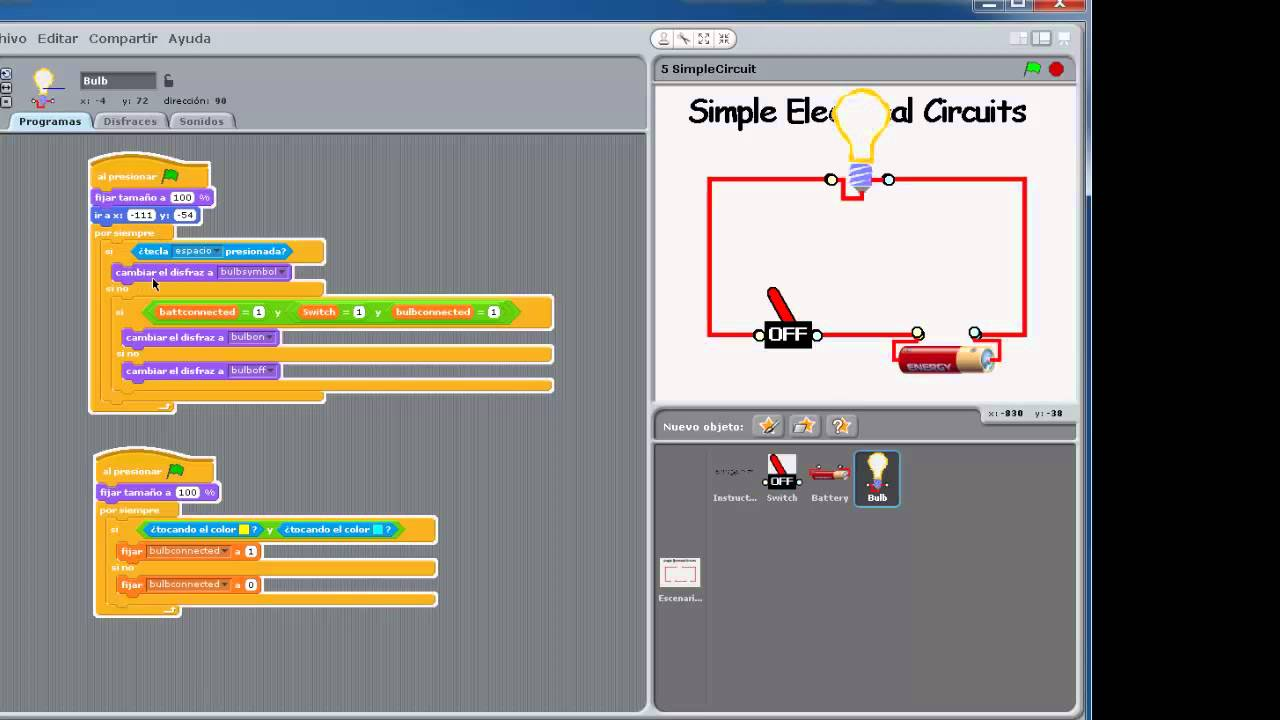 Circuito Electrico Simple : Circuito eléctrico sencillo de scratch youtube