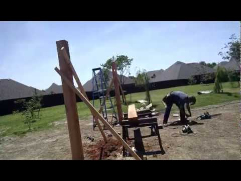 Pergola style swing set frame finished... time lapse