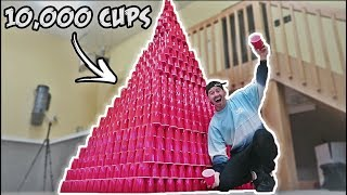 WORLD RECORD LARGEST RED CUP TOWER!! (10,000 CUPS)