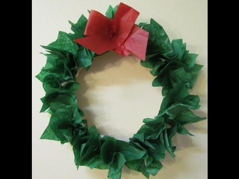 How to make a Wreath Paper Plate & Tissue Paper DIY Holiday Wreath Craft #12