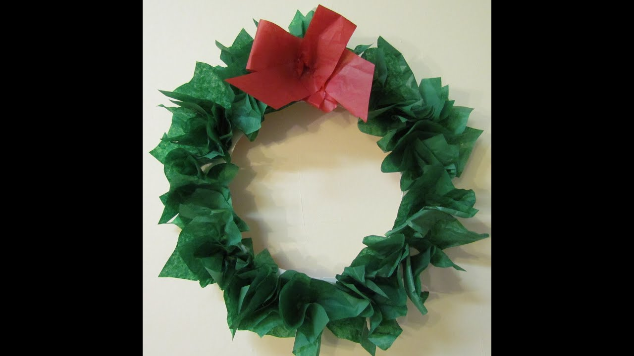 How to make a Wreath Paper Plate  Tissue Paper DIY Holiday Wreath