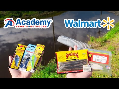 $20 ACADEMY vs WALMART Fishing Challenge (Bank Fishing)