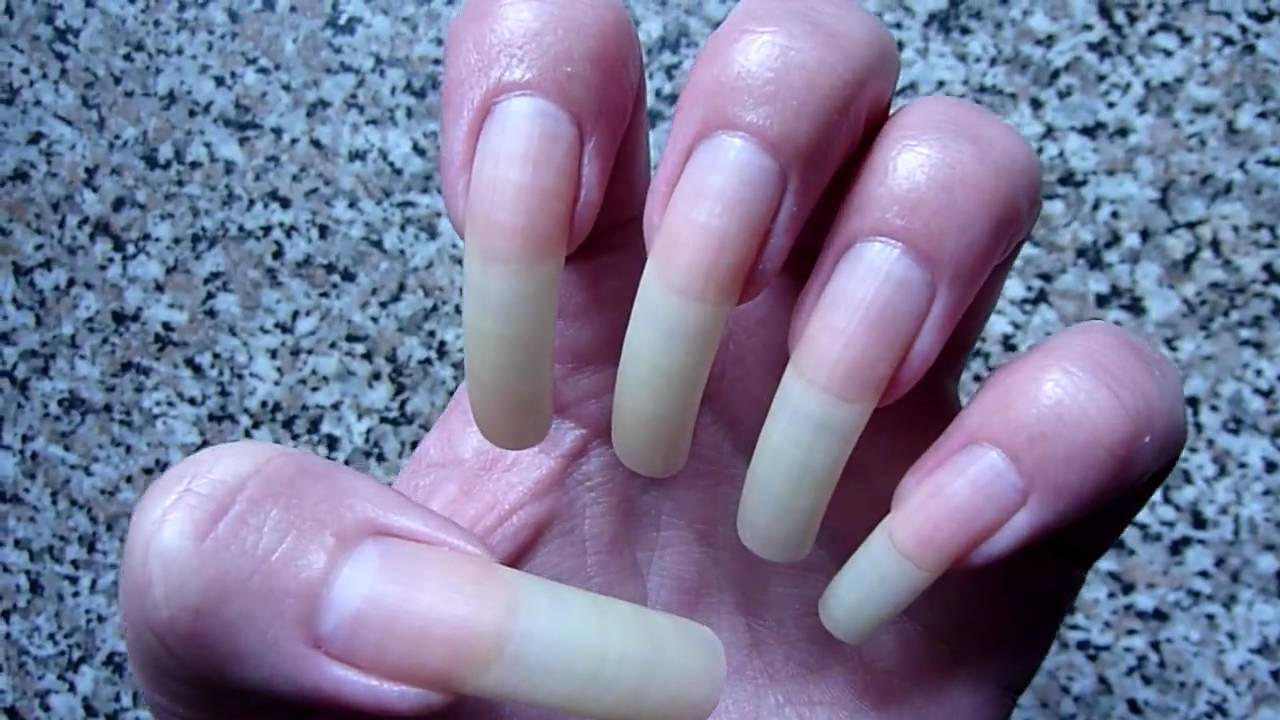 My Long Natural Bare Nails With No Nail Polish!