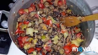Очень вкусный салат с баклажанами и помидорами на зиму
