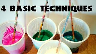 Fluid-Art: The 4 BASIC TECHNIQUES (part 1). Puddle pour, dirty pour, flip cup, swipe. Paint pouring
