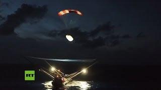 Dron 'caza' una parte del cohete Falcon 9 caída del espacio
