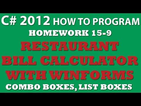 15-9 C# Restaurant Bill (C# Winforms)