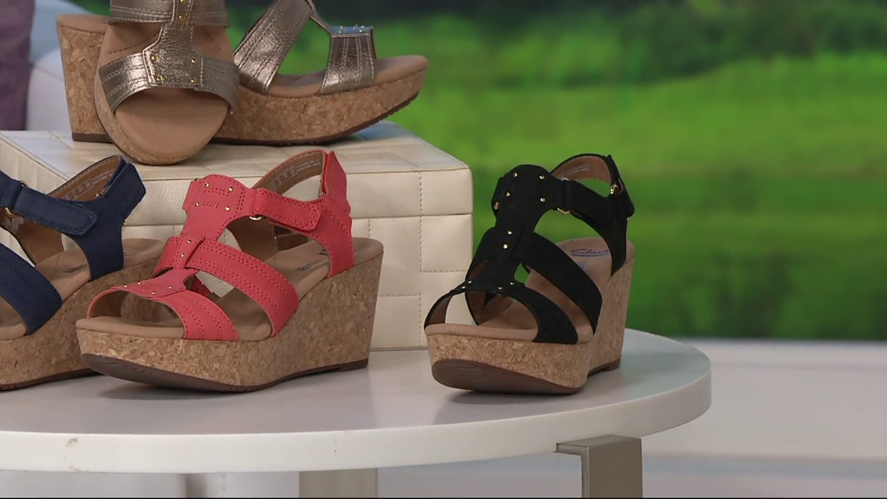 434710c0b56 Clarks Leather Triple Adjust Wedge Sandals - Annadel Orchid on QVC ...