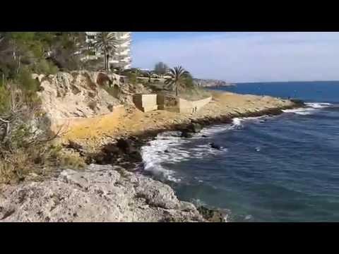 Широкий пляж в Салоу,отель Негреско.Playa llarga en Salou, Hotel Negresco.