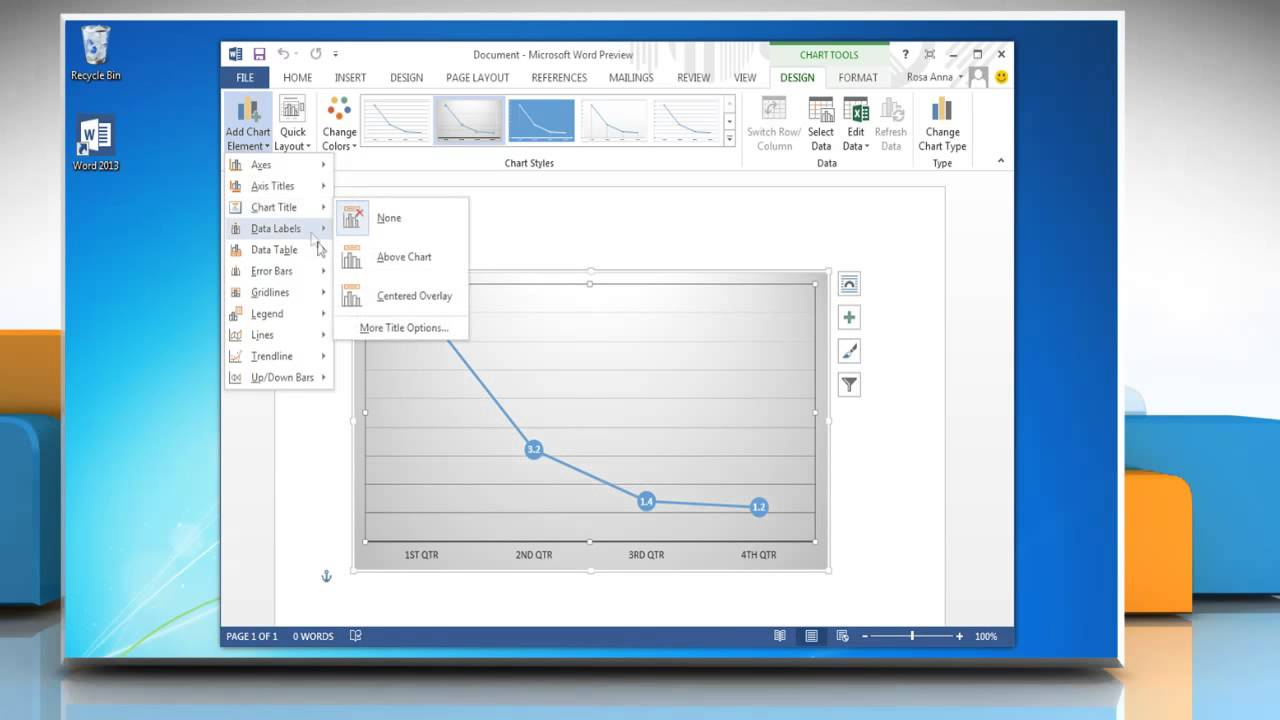 how to make a line graph in word 2013