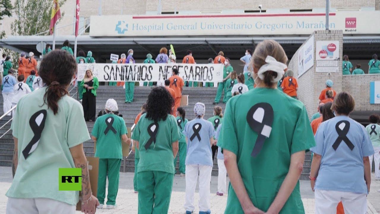 Protesta del personal sanitario en Madrid por la falta de recursos