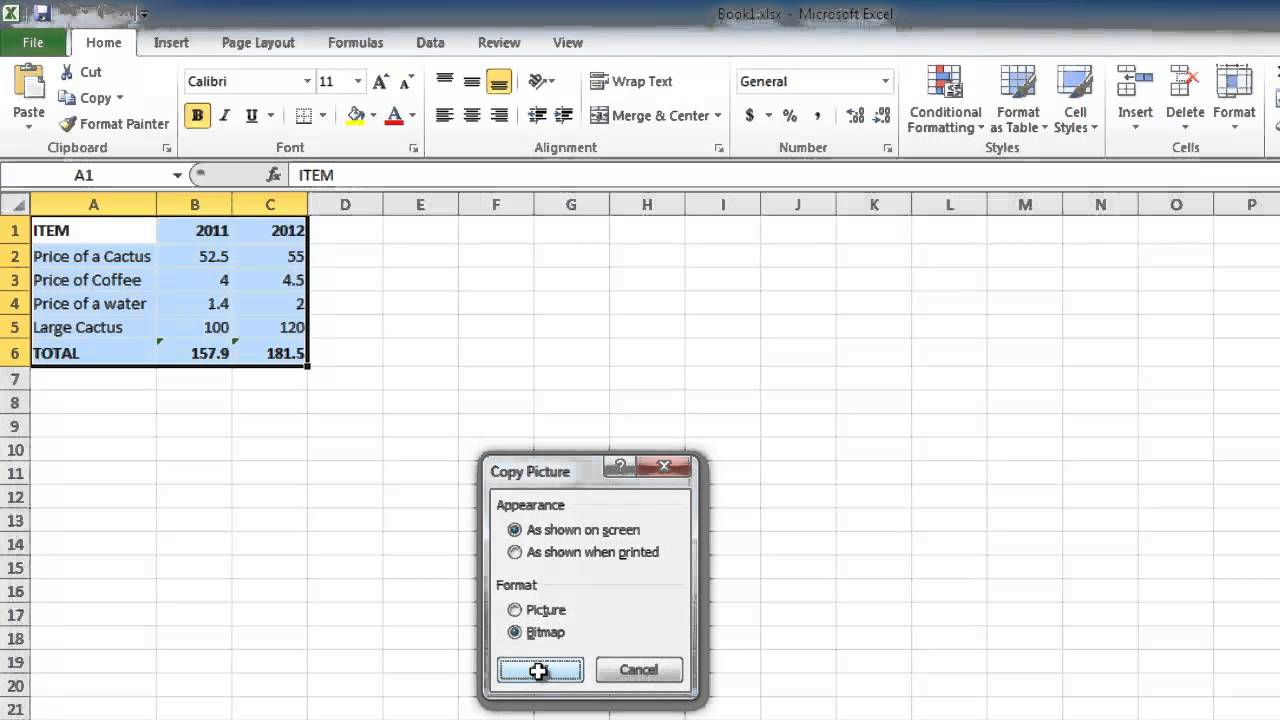 How to Copy Excel 2010 sheet into email - YouTube