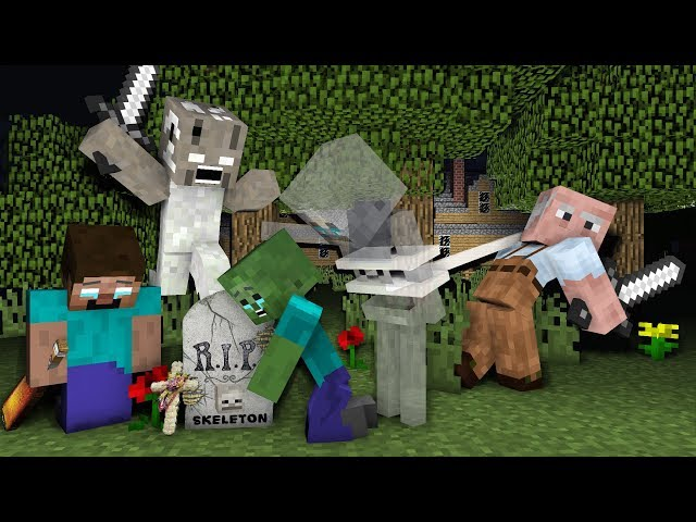Monster School : RIP Skeleton | Zombie Life 1 VS  Granny & Grandpa - Minecraft Animation