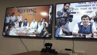Shri.Nitin Gadkari on NH in MH-state:see the video conferencing in Delhi & Mumbai