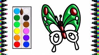 How to draw a butterfly for children - drawing and coloring for kids - bé yêu tv