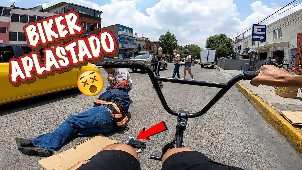 BIKER ATROPELLAD0 🏍💥😥 *Recorriendo la ciudad de Sur a Norte en bici sin FRENOS*🚫🚲