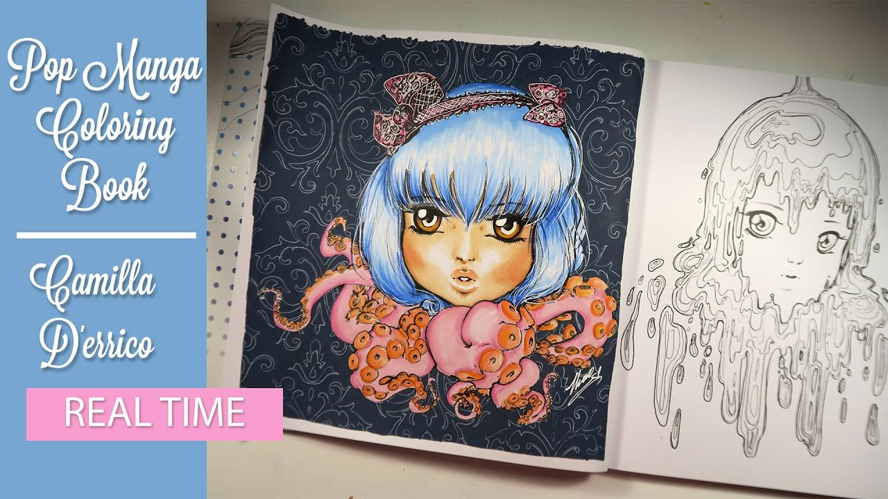 Tutorial The Girl With Blue Hair And Tentacles Pop Manga Coloring