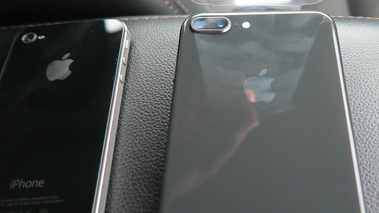 iPhone 8 Plus Space Gray Unboxing (iPhone 4s vs 8 Plus vs 6 Plus Comparison)
