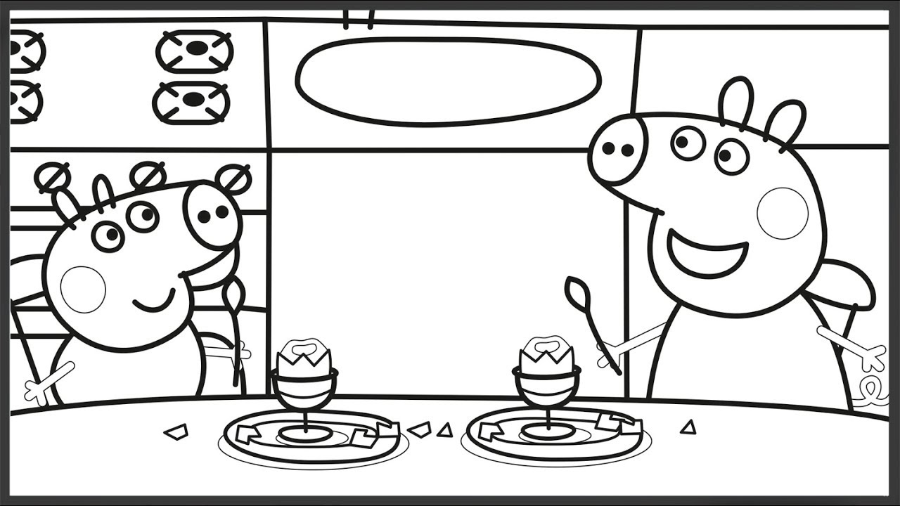 Peppa Pig at the Kitchen Coloring Book Pages Art Colours For Kids ...